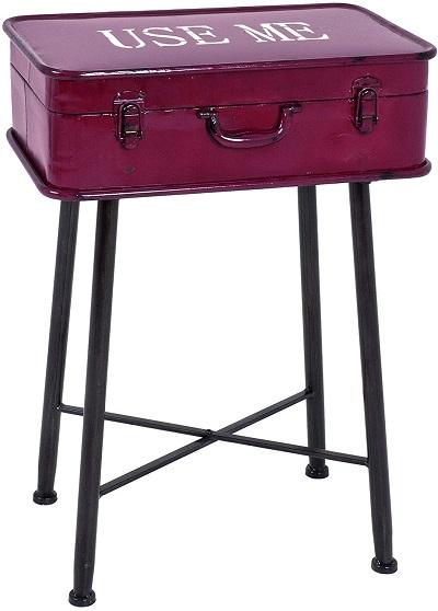mesa auxiliar maleta retro metal