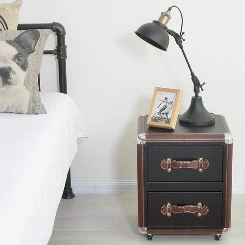 mesita de noche maleta vintage con dos cajones