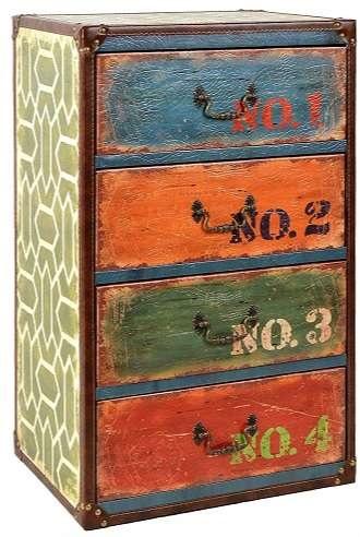 comoda retro vintage antigua colores maletas
