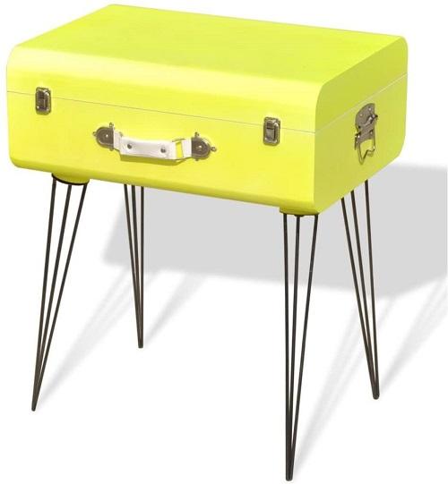 mesita vintage maleta amarilla vidaxl